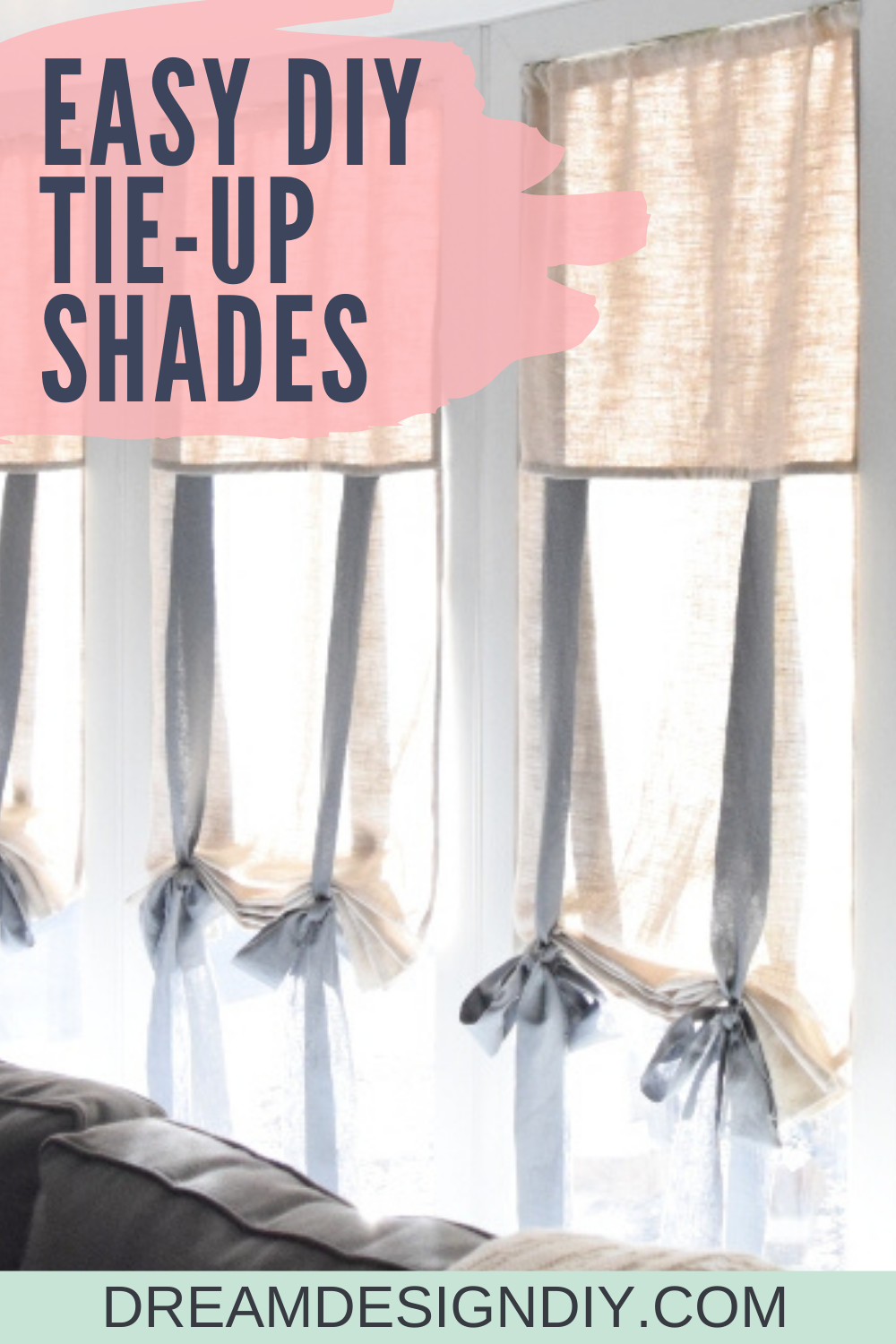 DIY TieUp Curtains Buying readymade window treatments can be expensive Make these DIY tie up shades and custom make them to fit any window These shades are easy to make a...