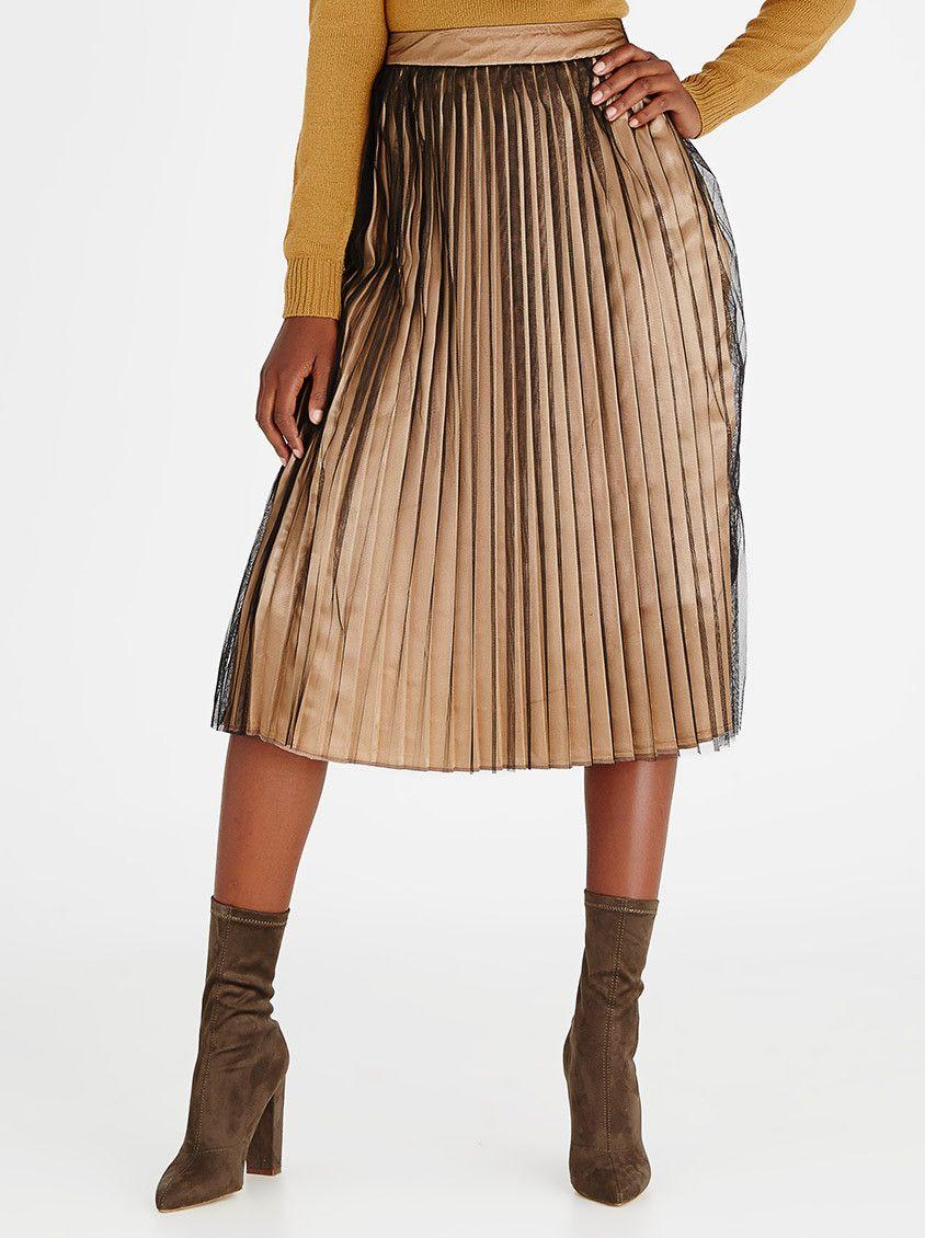 dc53f52bb5 STYLE REPUBLIC Pleated Midi Skirt Gold