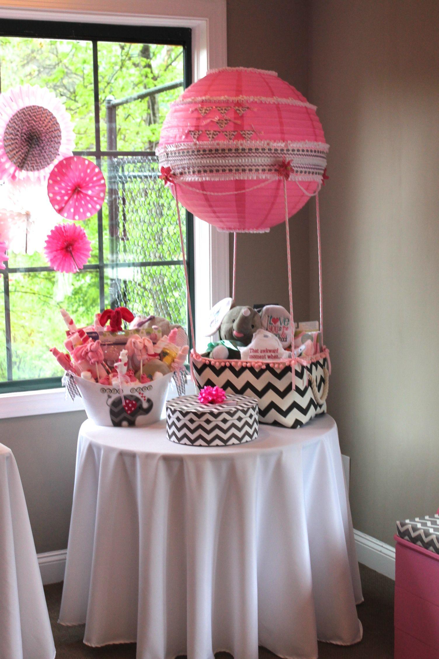 Baby Girl Shower Hot Air Ballon Gift Basket Pink Chevron