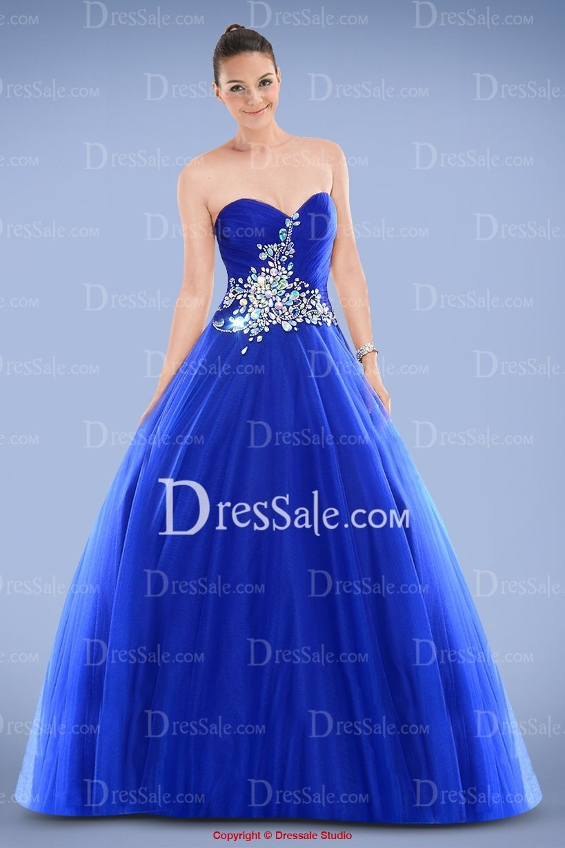 Royal Blue Organza Strapless Princess Prom Gown Accented with ...