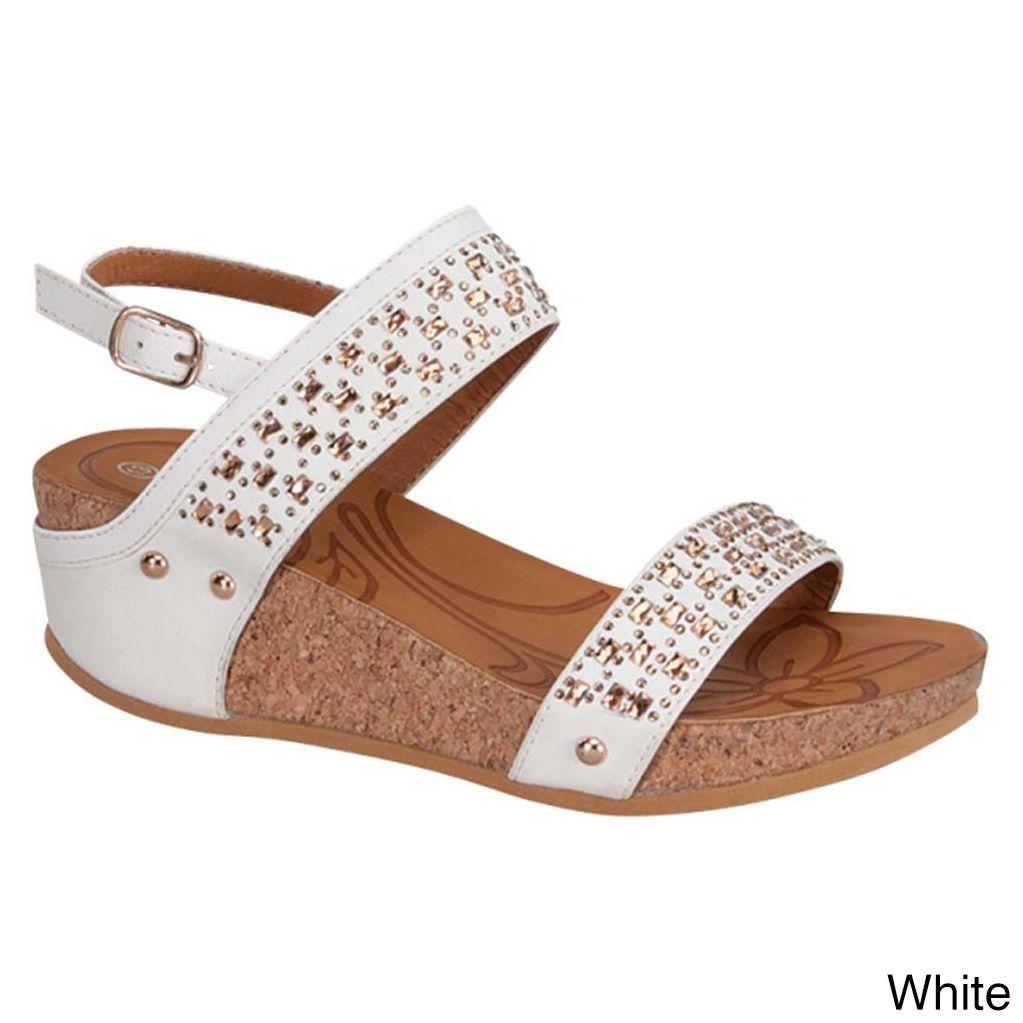Link Rene-20K Girls' Glittering Ankle Strap Sling Back Platform Wedge Sandals