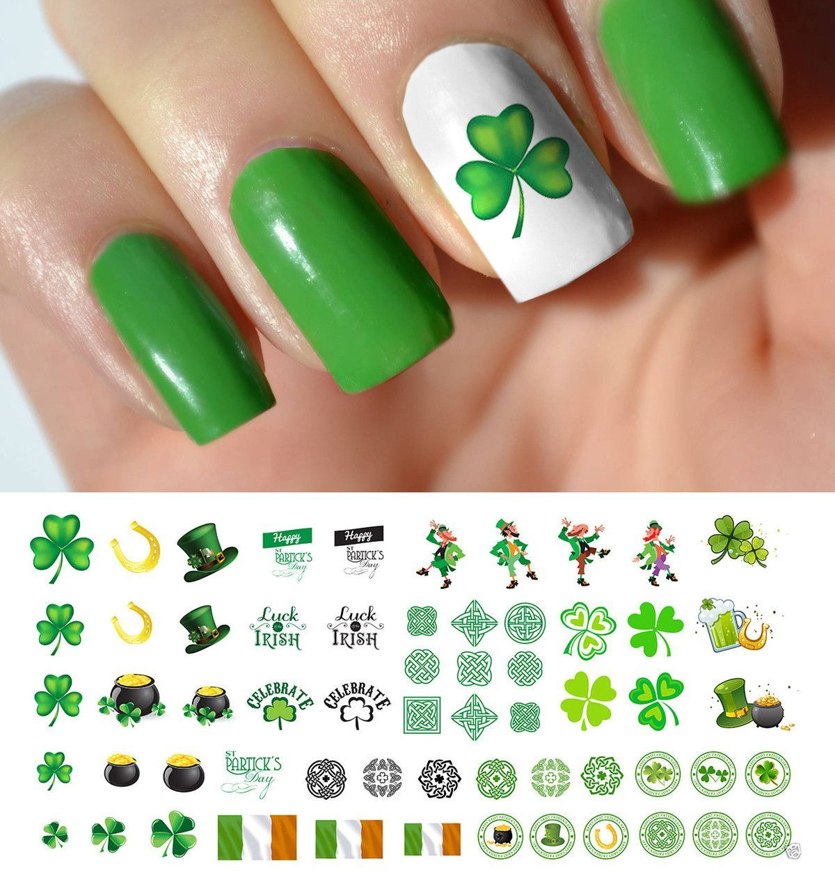 St. Patrick\'s Day Nail Art Decals Set #1 | Diseños de uñas