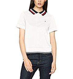 Tommy Hilfiger Damen Poloshirt Tianna Heritage Polo SS Weiß (Snow White 118),  10