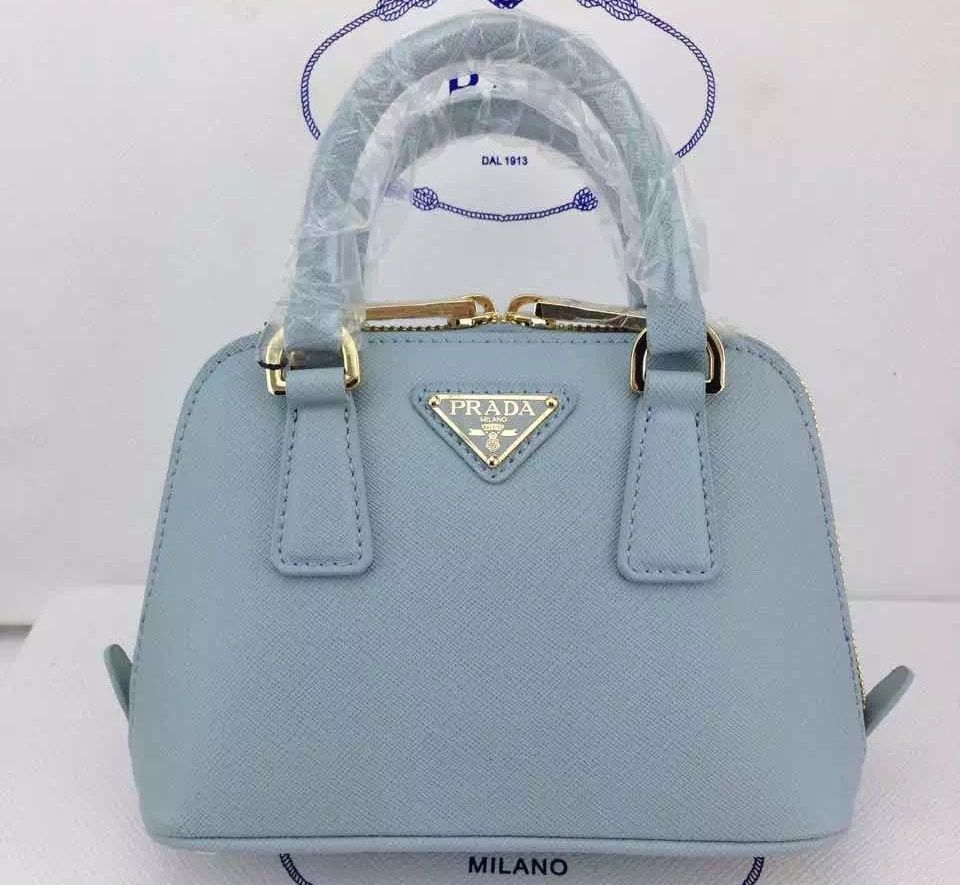 230581b148c18e Prada BL0851 Saffiano Leather Mini-Bag Pale Blue | Prada Saffiano ...