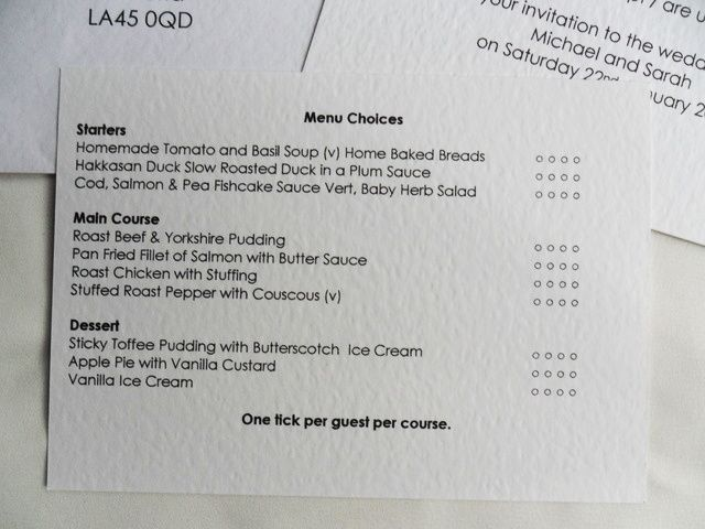 Images Of Wedding Menu Selection Cards