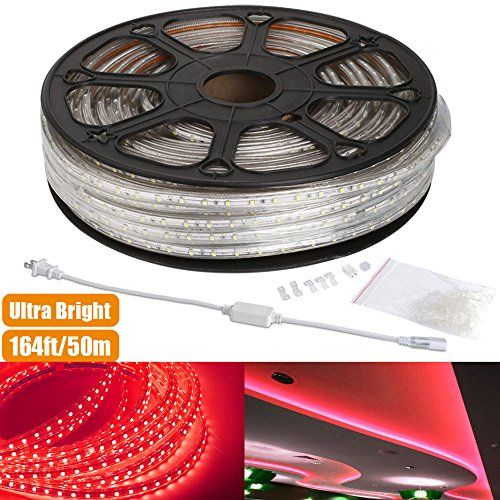 Le 164ft Flexible Led Strip Lights Red 3000 Units Smd 3528 Leds 300lm M 110 120 V Ac Waterproof Ip65 Accessories Included Led Rope Lights Led Tape Led