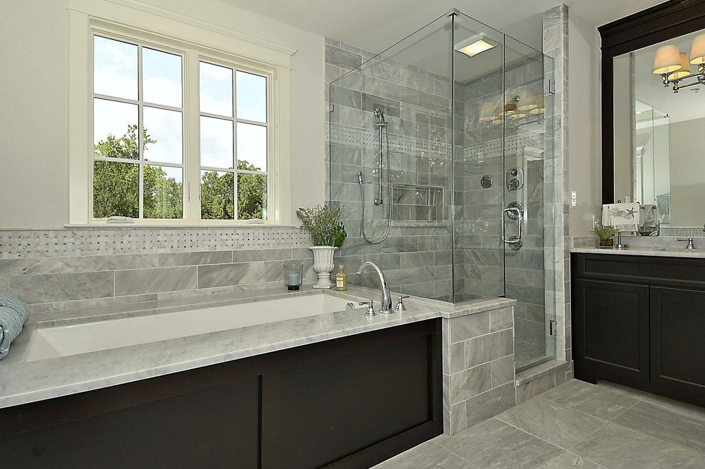 Transitional master bathroom with master bathroom simple for Marble master bathroom designs