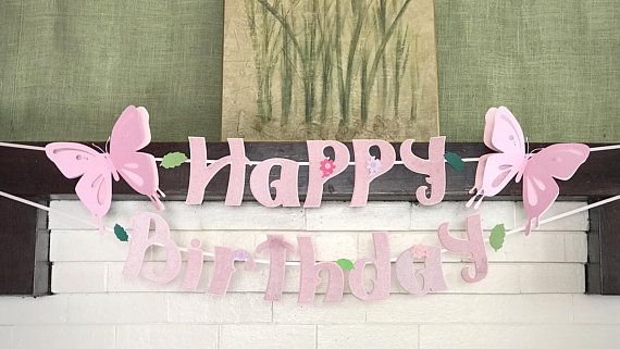 3D Butterfly Happy Birthday Banner, Happy Birthday Sign