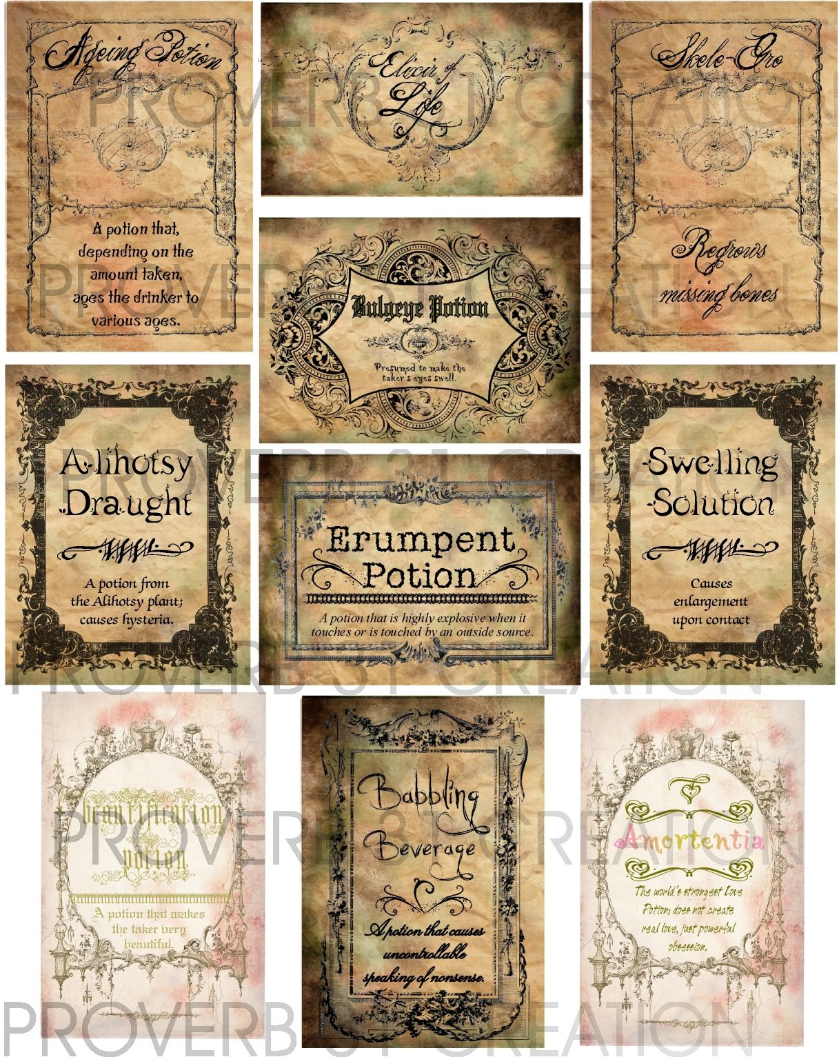 Water Walker Potion Labels Label Templates Dollhouse Miniatures Free Printables Harry