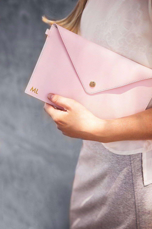 Pink kikki.K Leather Clutch