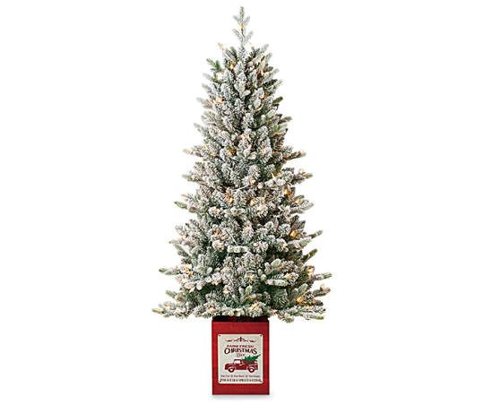 Winter Wonder Lane 5 Comet Flocked Pre Lit Artificial Christmas Urn Tree With Clear Lights Big Lots In 2020 Christmas Urns Big Lots Christmas Trees Small Christmas Trees