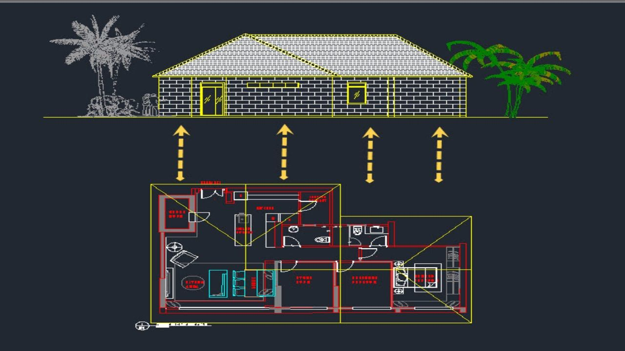 Elevation Plan In Autocad : Autocad tutorial draw elevation from floor plan lesson