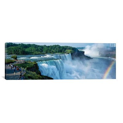 "East Urban Home Panoramic 'Niagara Falls, Niagara River, Niagara County, New York State' Photographic Print on Canvas Size: 24"" H x 72"" W x 1.5"" D"