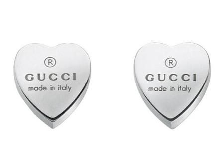 f5c3d77d965 Check out these Gucci stud earrings with engraved gucci trademark heart  motif in sterling silver!