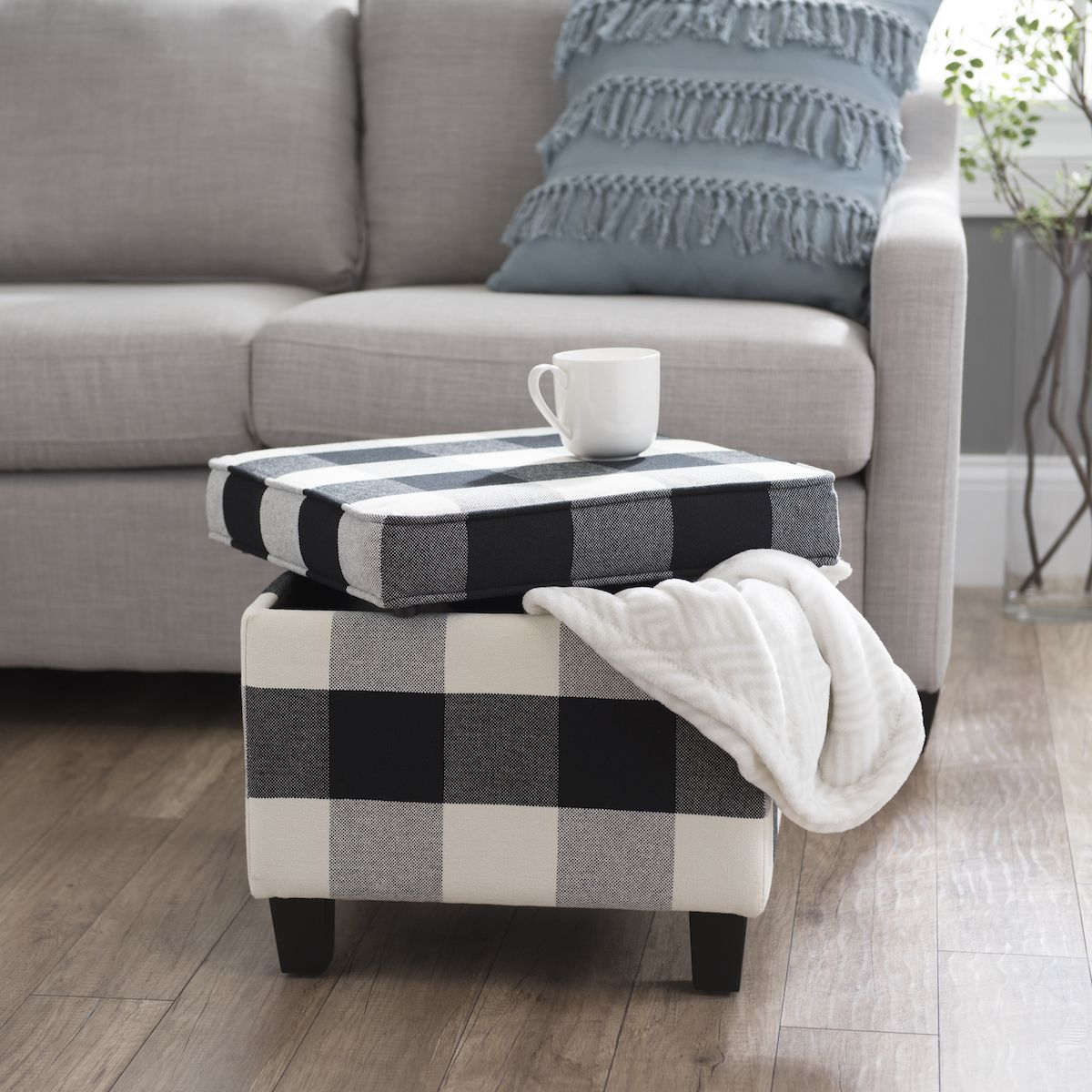Our Black Buffalo Check Storage Bench Features A Simple, Functional Design  And A Trendy Pattern.