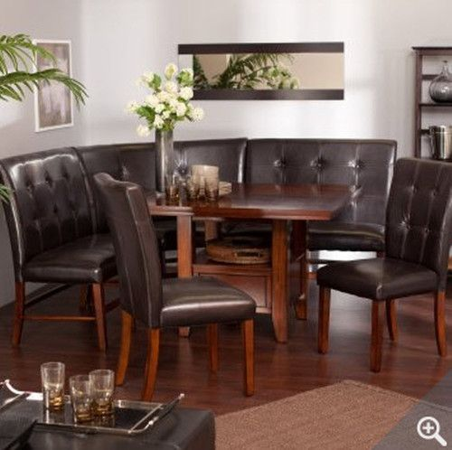 Kitchen Dining Room Leather Wood Corner Breakfast Nook Table Bench Chair 6  Set | EBay