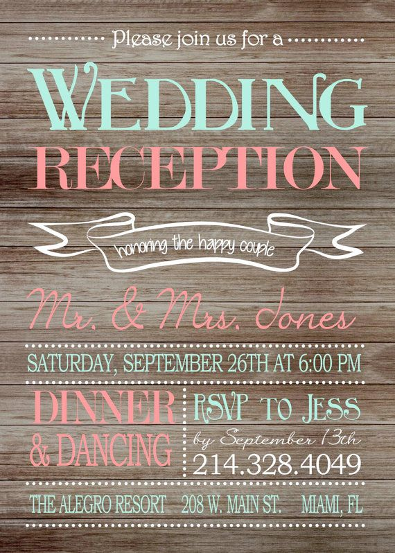 Rustic Wedding Reception Only Invitation On Wooden