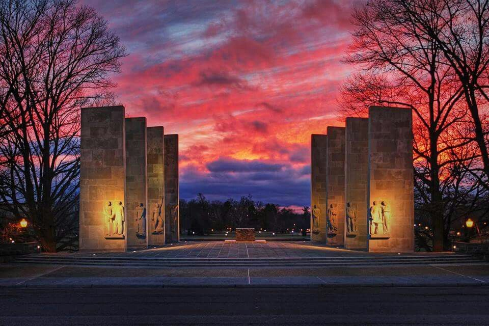 Sunset at Pylons Virginia tech campus, Virginia tech, Hokies