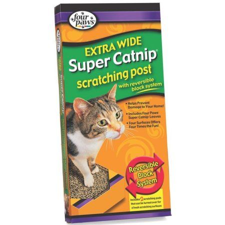 Four Paws Super Catnip Extra Wide Scratching Post, Brown