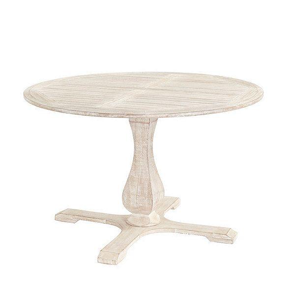 Ceylon Whitewash 48 Round Pedestal Dining Table Ballard Designs Round Pedestal Dining Dining Table Round Pedestal Dining Table