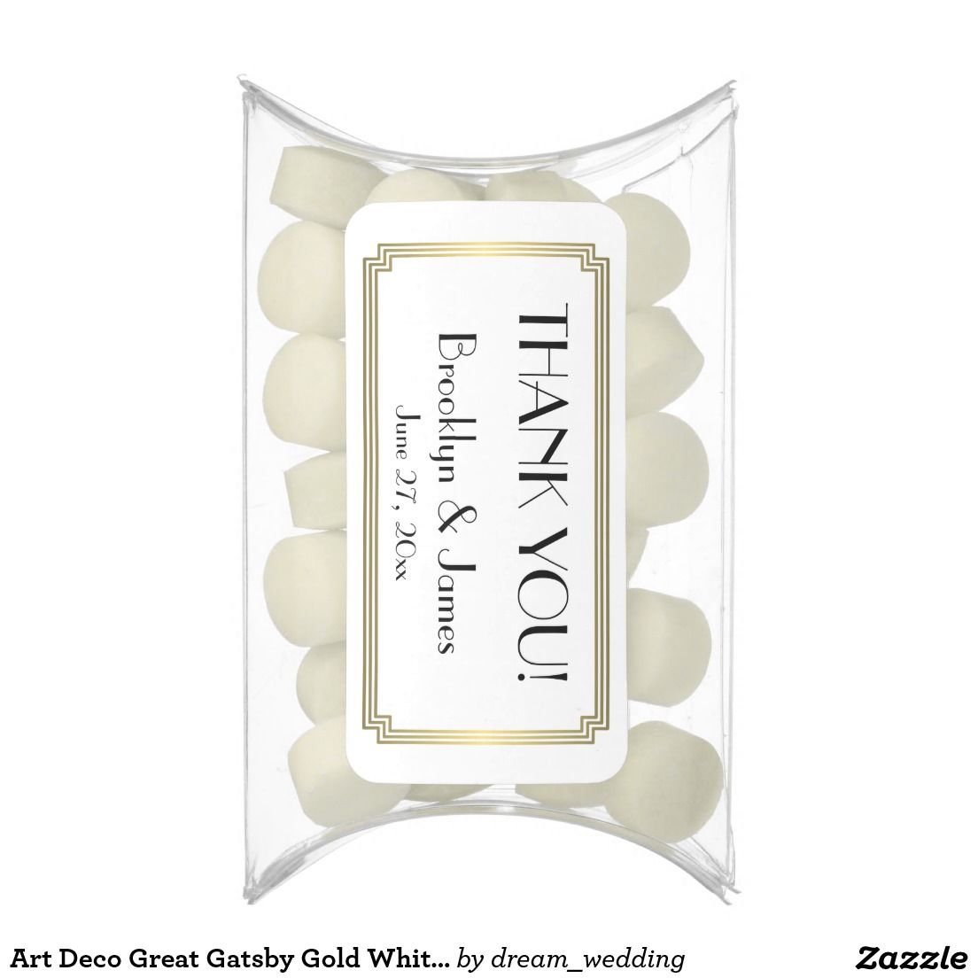 Art Deco Great Gatsby Gold White Wedding Favors Chewing Gum Favors ...