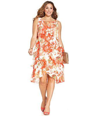 9b3dcec7f9803 SL Fashions Plus Size Sleeveless Floral Tiered Dress - Plus Size Dresses - Plus  Sizes - Macy s