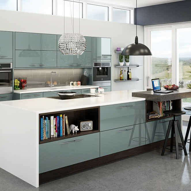 gloss kitchen in grey. gloss handleless kitchen shown in grey but