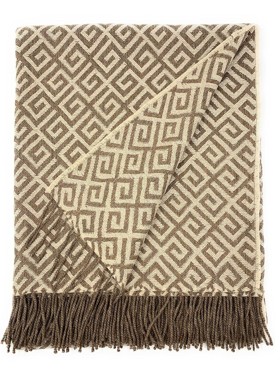 Geometric Greek Key Throw Blanket Herringbone Throw Blanket Handwoven Throw Throw Blanket