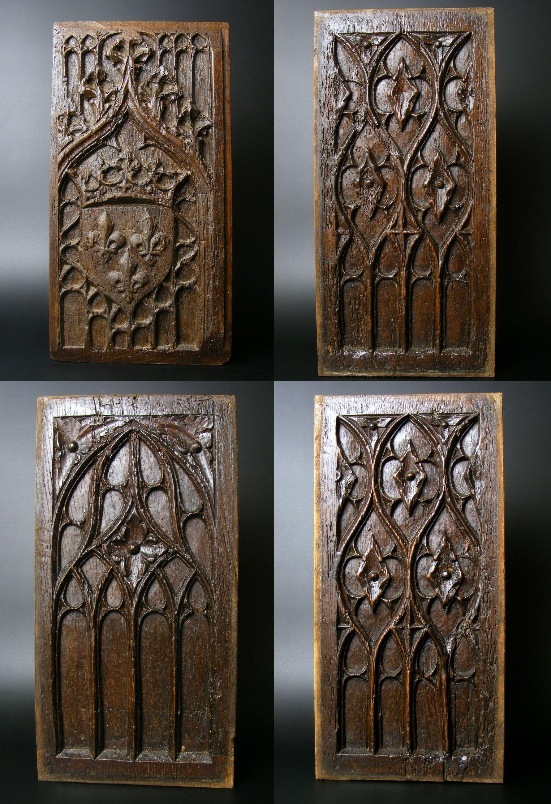 Panneaux gothiques bois sculpt 15 me si cle falegname for Arredamento stile gotico