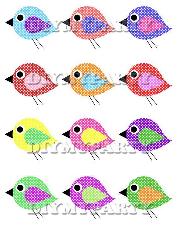 Printable party decor birds Clip Art bird clipart decoration pdf file digital birthday party tag diy scrapbooking  rose green yellow (281)