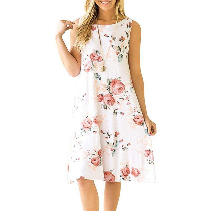 Women/'s Summer T Shirt Dress White Short Sleeve A-Line Printed Swing Dress XL