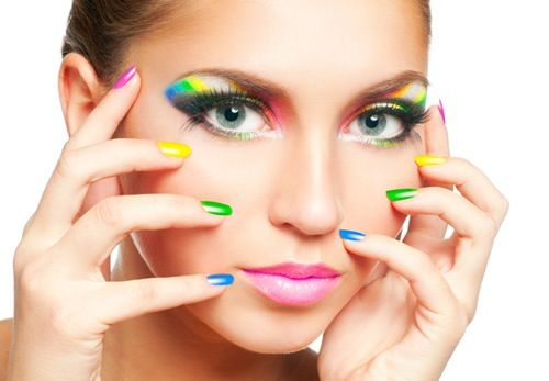 Colorful nails and makeup