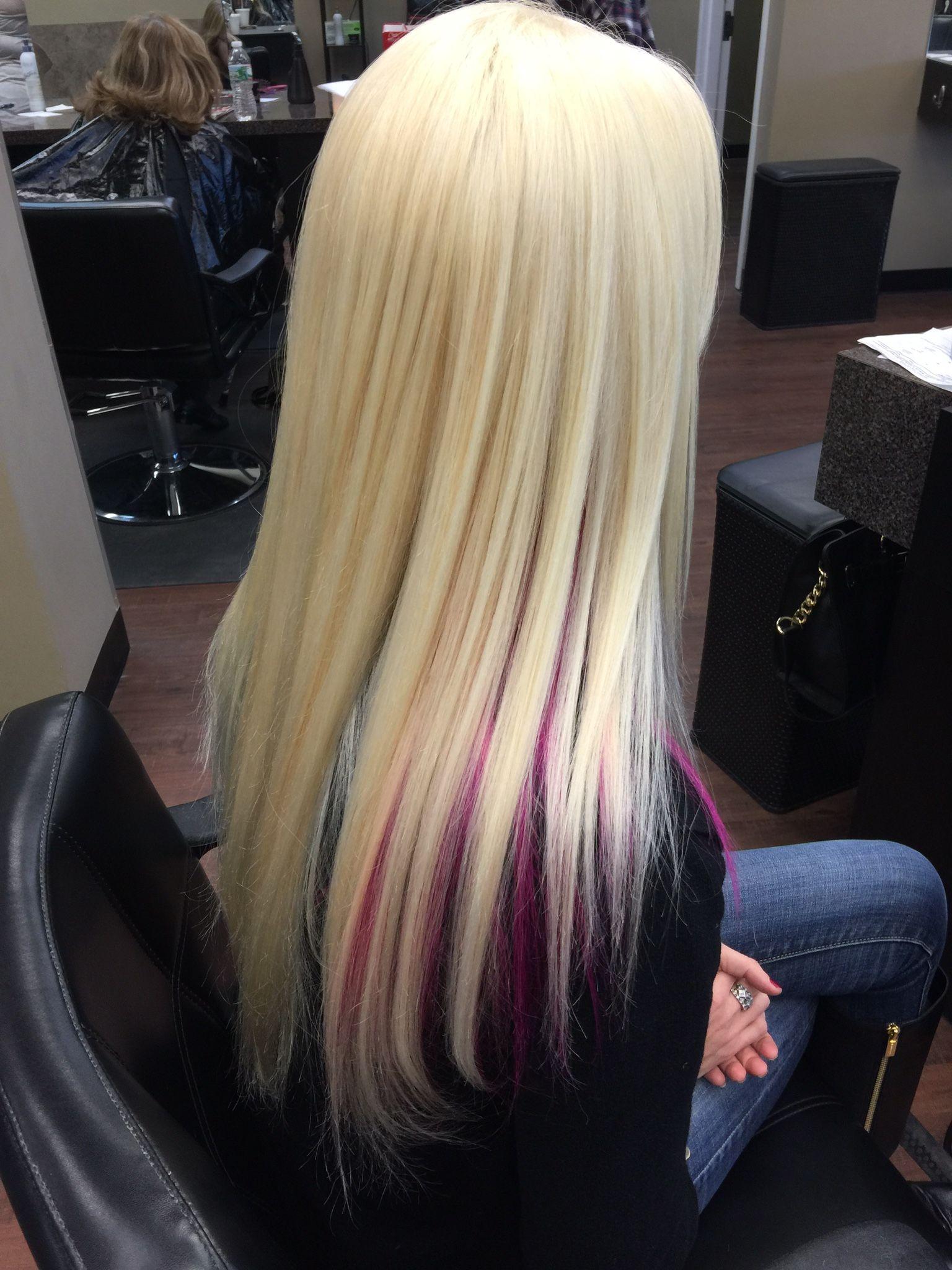 Platinum Blonde Hair With Magenta Pink Highlights Hair Blonde Hair