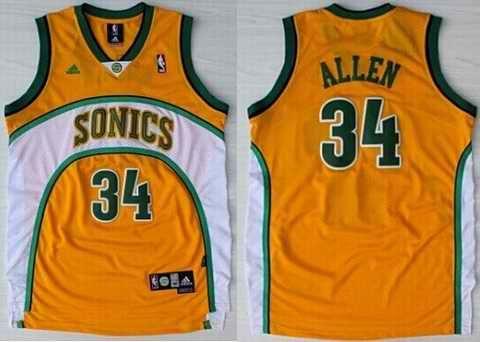 check out b3684 70c99 NBA Seattle Sonics 34 Ray Allen Swingman Throwback Yellow ...