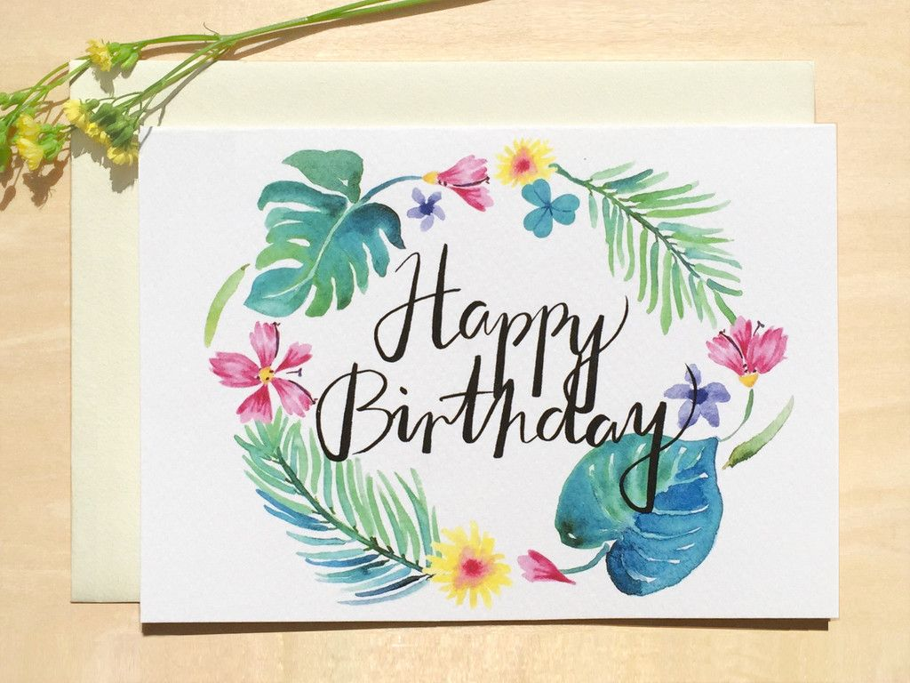 Happy birthday tropical card with complimenting envelope greeting fresh happy birthday tropical flora foliage design created from our watercolour botanical paintings and hand lettering folded greeting card with blank in izmirmasajfo