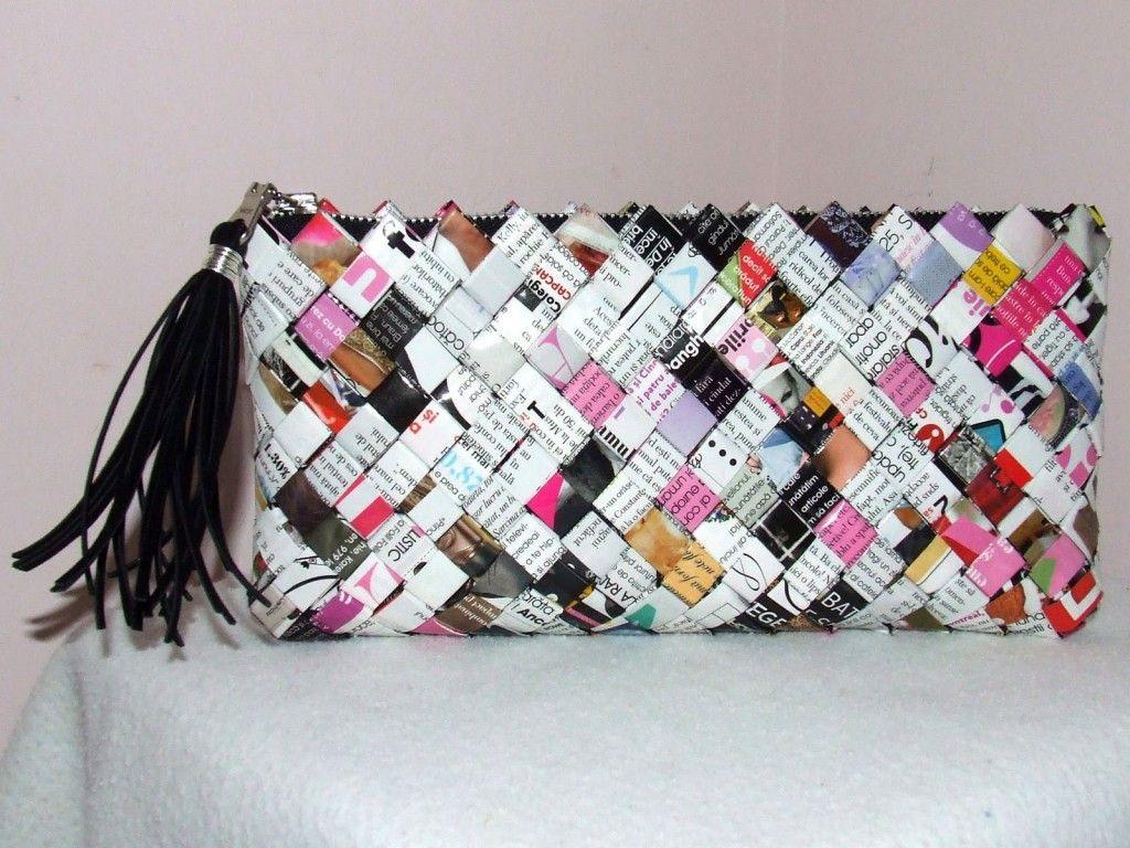 93d25fa39 carteras con material reciclable. Como hacer Bolsos de Papel Cruzado  Origami - enrHedando