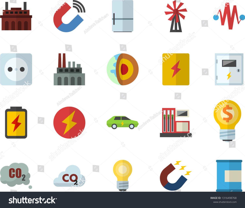 Color flat icon set switch box flat vector, fridge