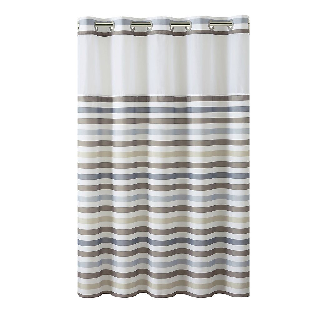 Hookless Hampton Multi Striped Shower Curtain With Liner Kohls In 2020 Hookless Shower Curtain Gray Shower Curtains Vintage Shower Curtains