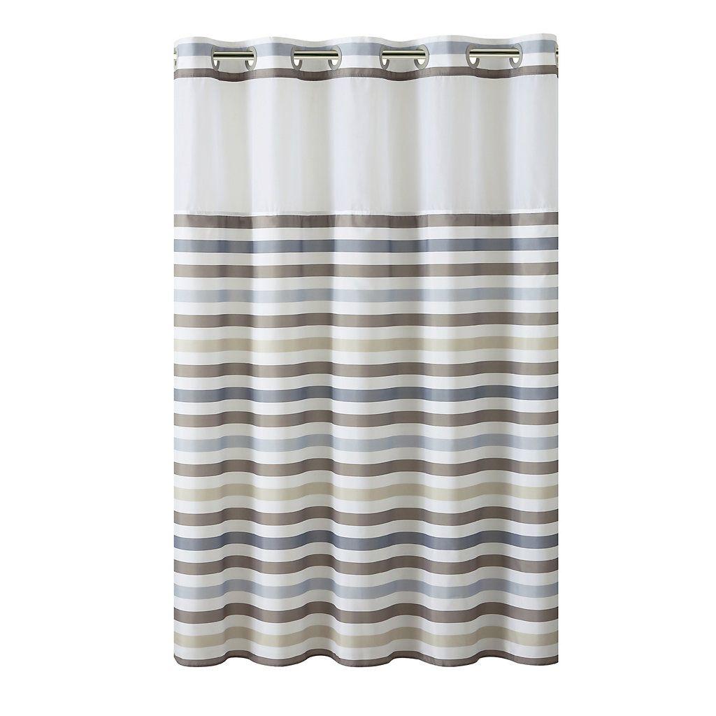 Hookless Hampton Multi Striped Shower Curtain With Liner, Beig/Green  (Beig/Khaki)