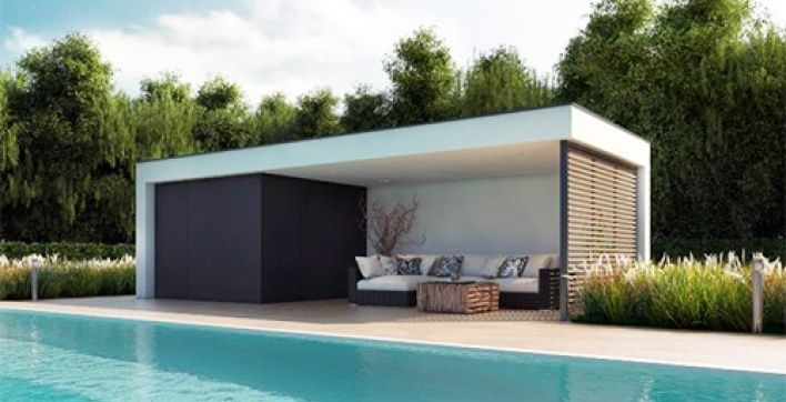 un poolhouse vraiment contemporain install en une journ e au bord de votre piscine. Black Bedroom Furniture Sets. Home Design Ideas
