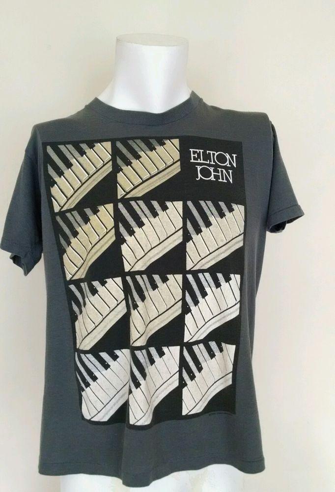 fc4ed03f2 Vintage Elton John World Tour Shirt 86/87 Gray Piano Man Concert Short  Sleeve XL #GraphicTee