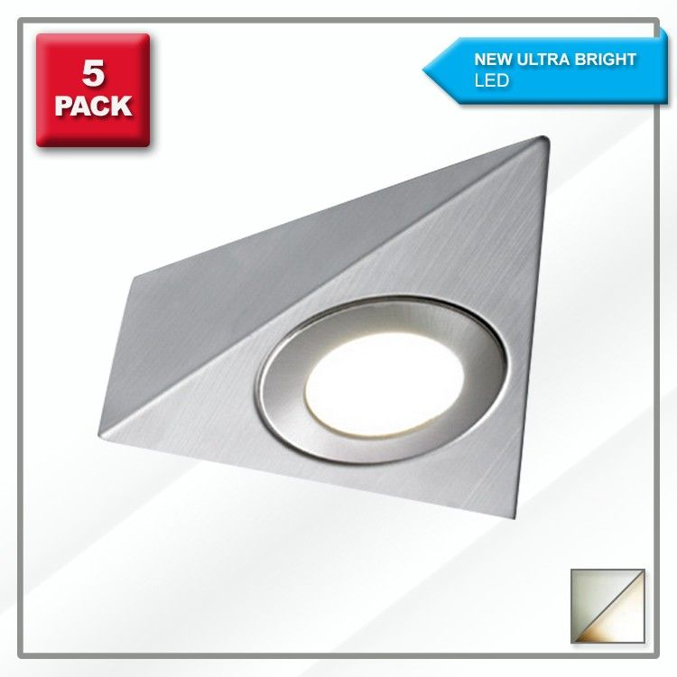 5 Pack -  High Brightness - Triangle LED Under Cabinet Light  - with 15w Driver