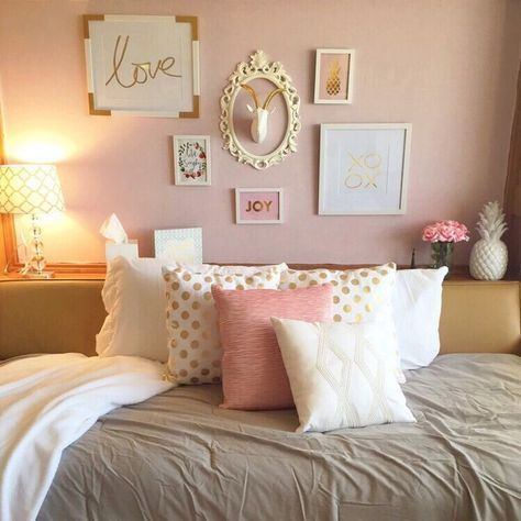 Blush And Grey Gold Bedroom Girl Room Room Inspiration