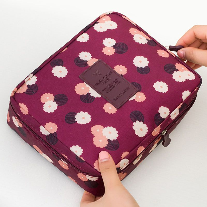 Neceser Rushed Floral Nylon Zipper New Women Makeup bag Cosmetic bag Case  Make Up Organizer Toiletry Storage Travel Wash pouch 570dde534c03a