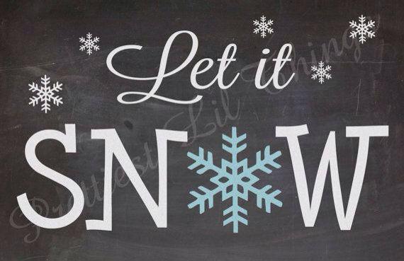 Let It Snow Christmas Chalkboard Art Winter Chalkboard Ideas Frozen Wall Art
