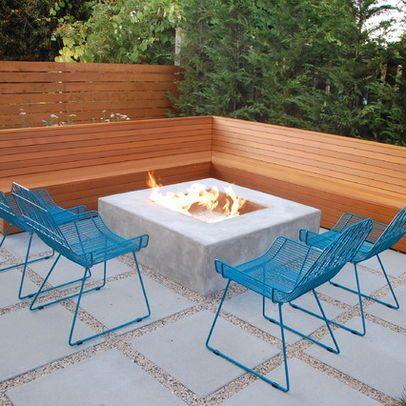 sleek modern simple fire pit area outdoor oasis pinterest
