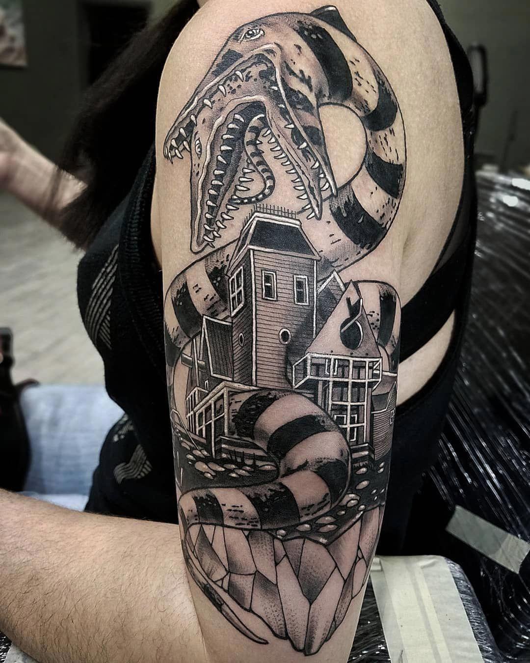 Half Sleeve Henna Tattoos Halfsleevetattoos Half Sleeve Tattoo Beetlejuice Tattoo Movie Tattoos
