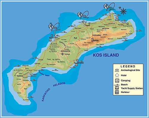 Map of Kos Greek island Kos Island Pinterest Greek islands