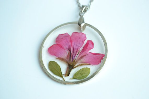 Pink dried flower in resin pendant  real flower by twocatsboutique, $25.00