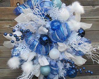 Items similar to Hanukkah Wreath - Indigo Winter Snowflake Wreath - Sapphire and Silver Door Hanger - Unique Seasonal Wreaths - Winter Wonderland - Christmas on Etsy #hangersnowflake